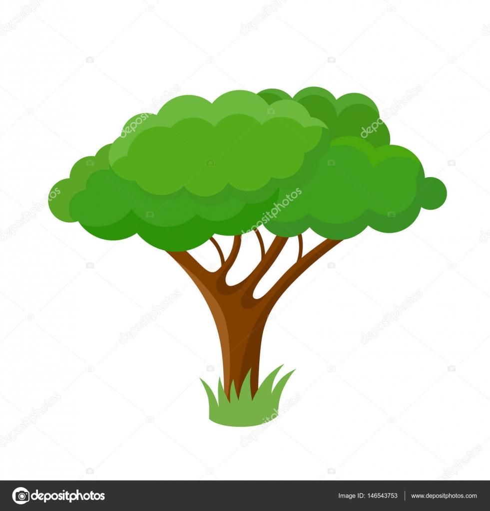 árvore Decorativa Dos Desenhos Animados Vetor De Stock Polyudova