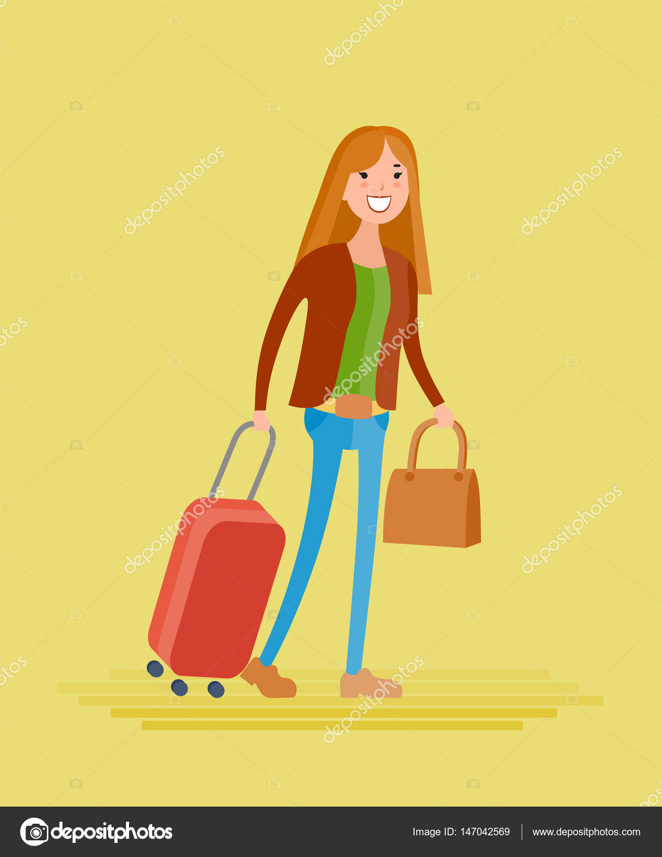 cartoon young girl going on journey — Stock Vector ...