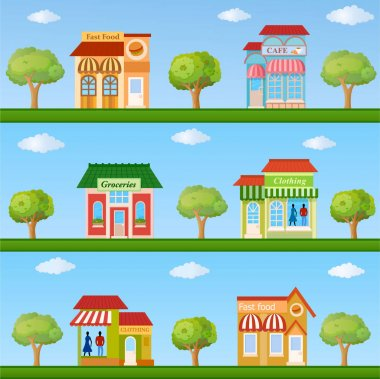 Stores and cafe buildings icons set