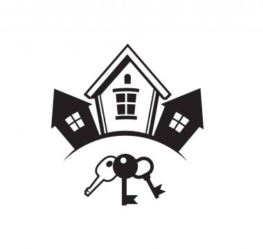 Black and white houses icon