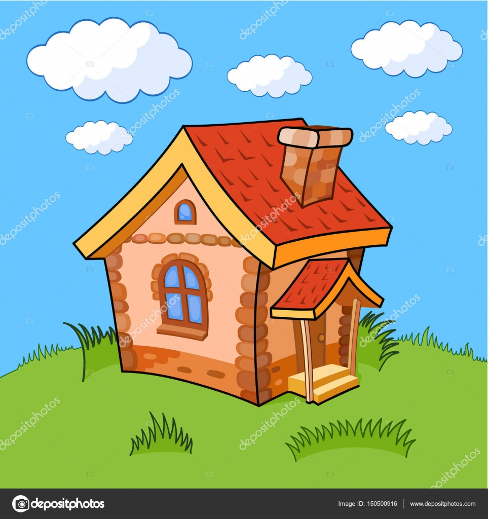 Cartoon Häuschen Mit Rotem Dach Stockvektor Polyudova 150500916