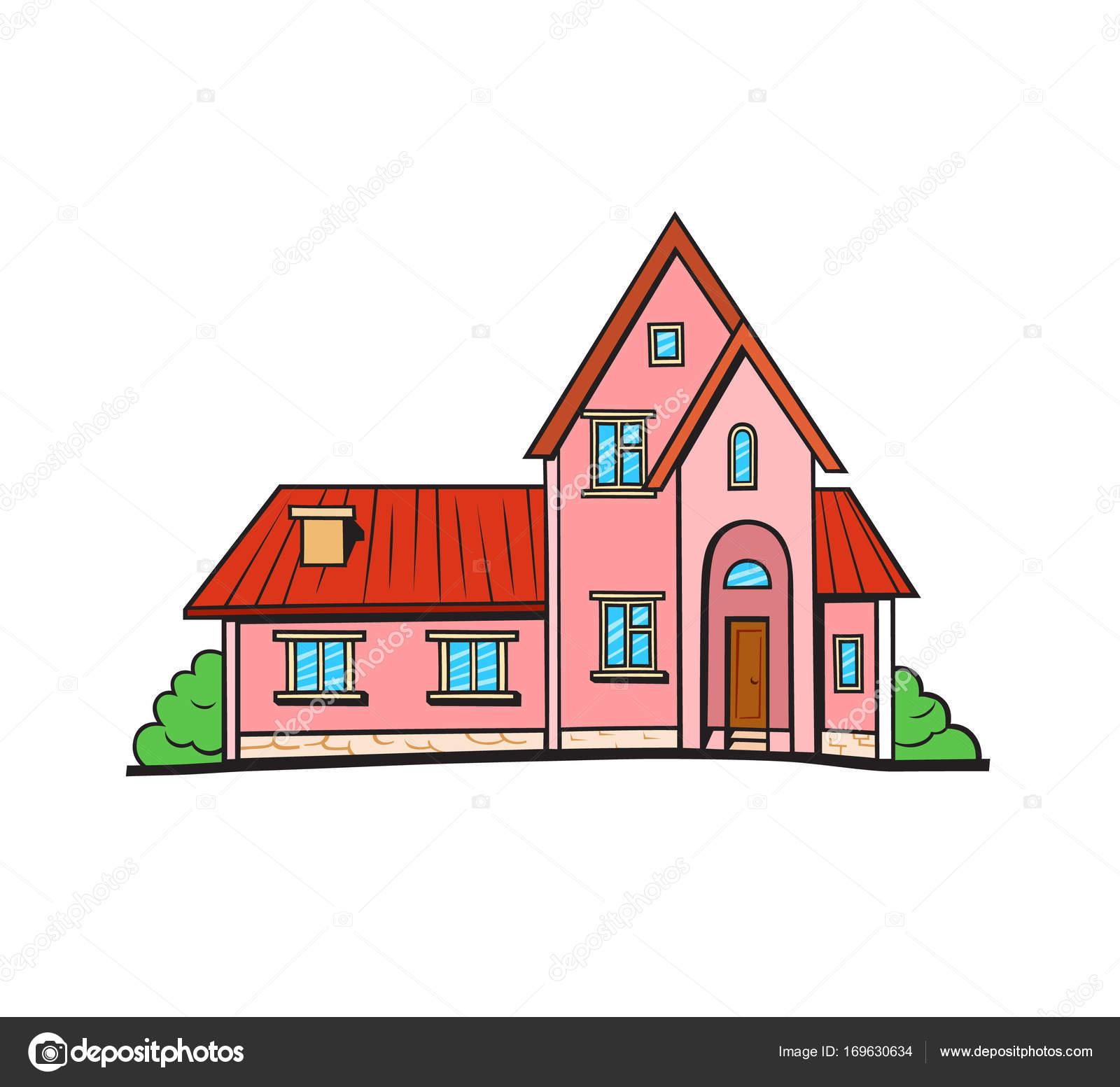 Pop Art Stil Haus Patch Abzeichen. Vektor Aufkleber, Pin, Patch Im Cartoon  Comic Stil. Rosa Farbe Häuschen Mit Rotem Dach U2014 Vektor Von Polyudova