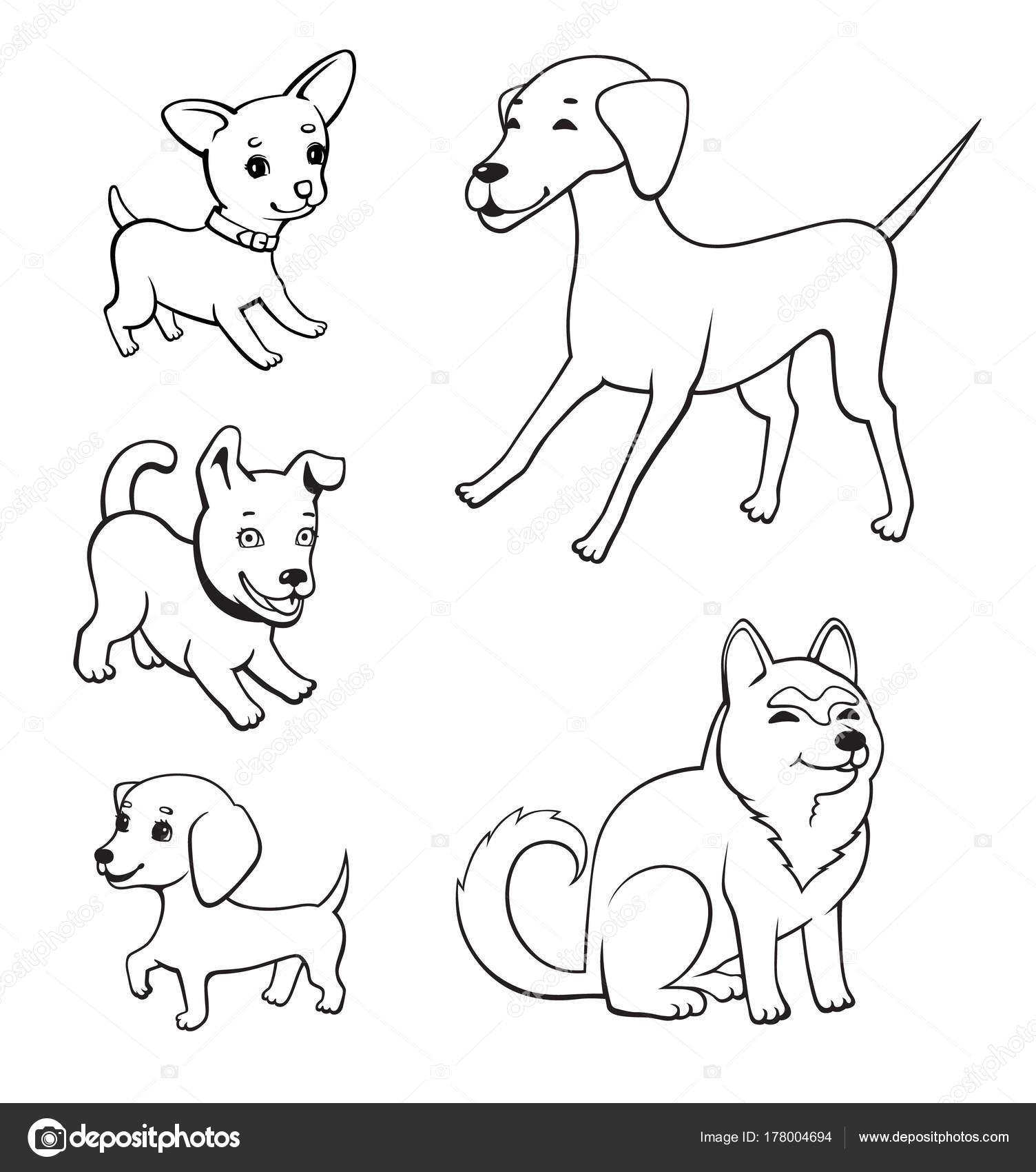 Dibujos Perros En Conjunto Perros Dibujos Animados Estilo Perros