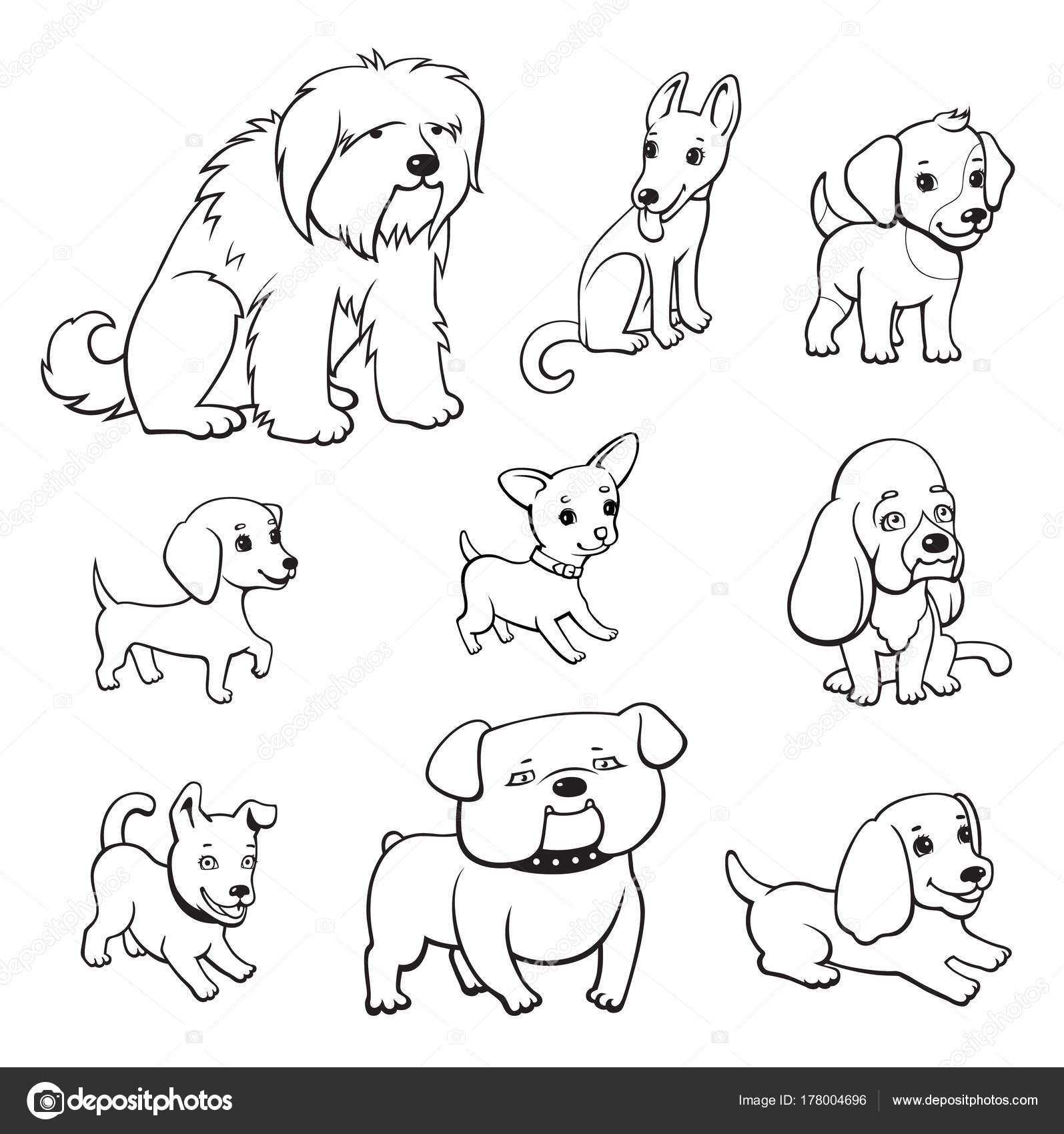 conjunto cães estilo dos desenhos animados cães adultos filhotes