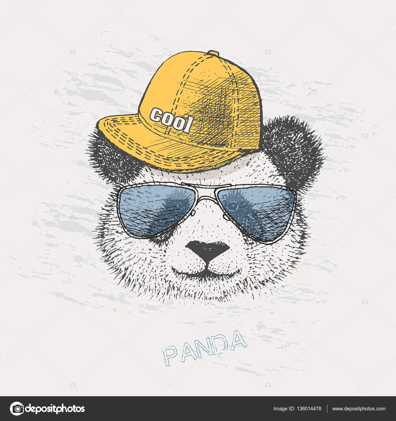 Cool Panda Bear In Rapper Cap And Glasses Stock Vector