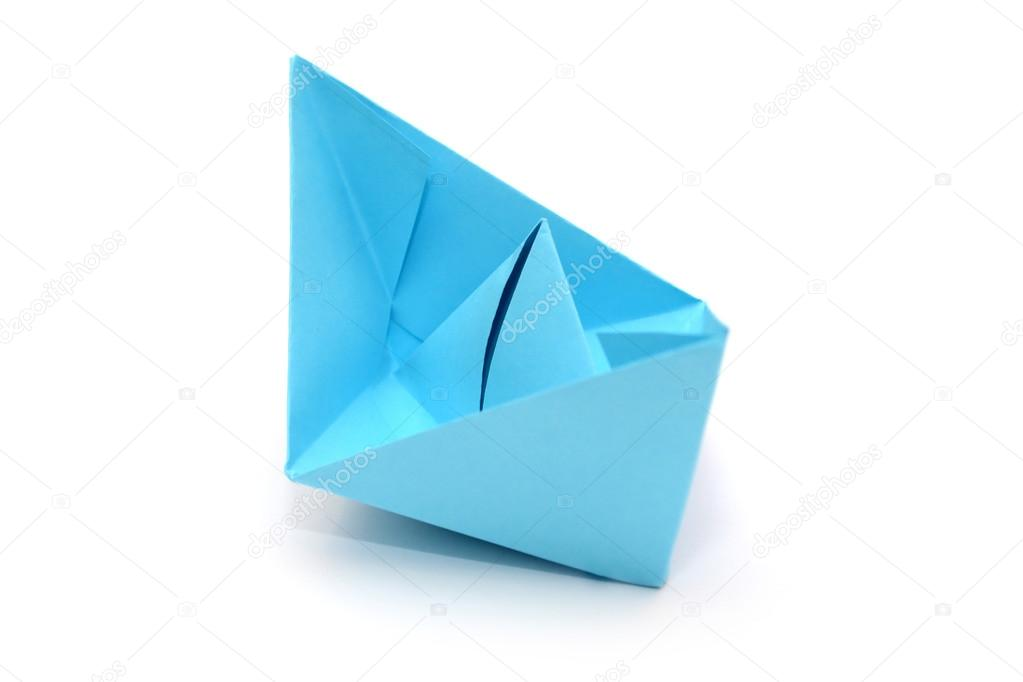 Blue Paper Boat Origami Stock Photo Luda311 128016280