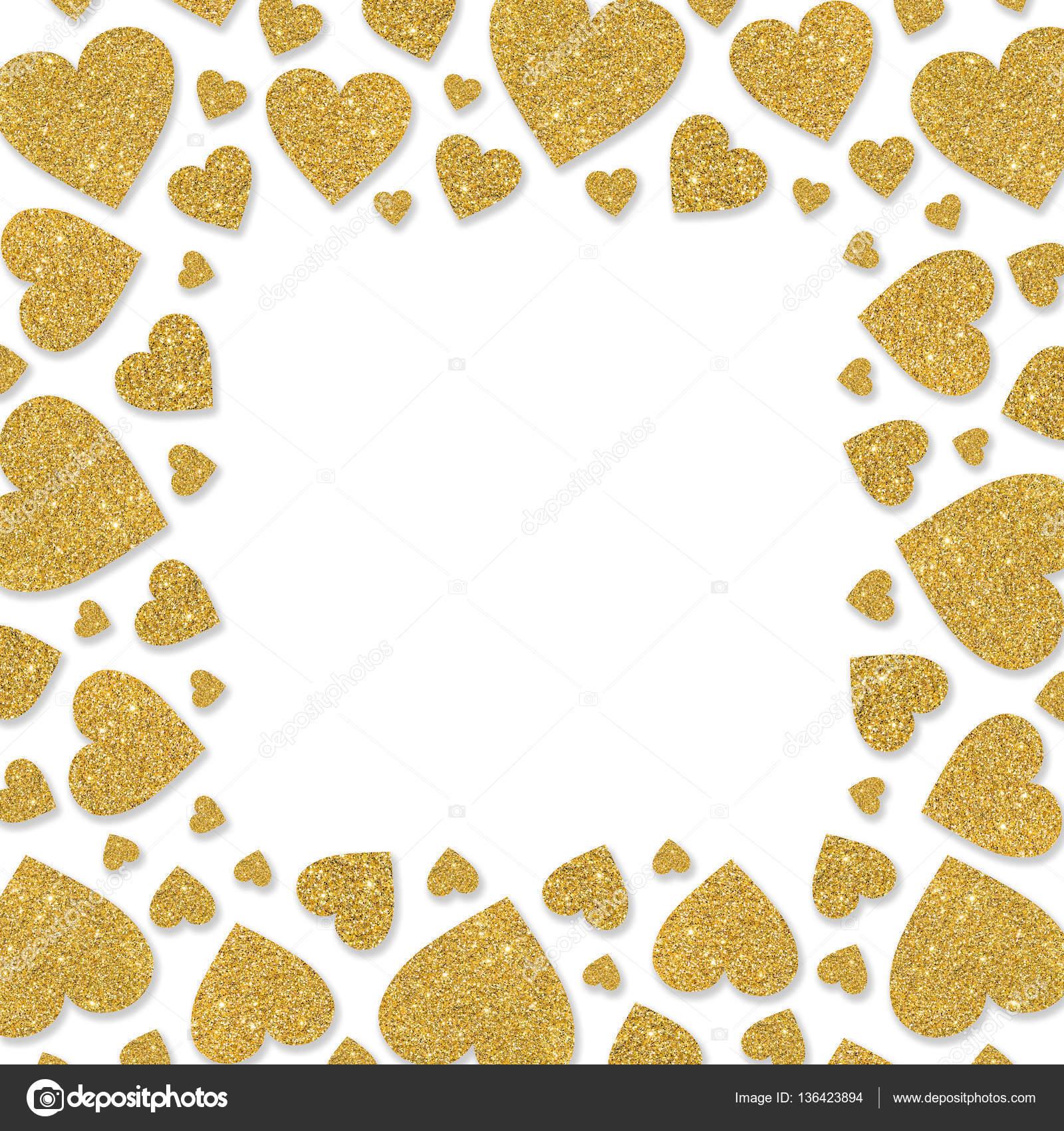 Marco de corazones de metal oro brillante. Frontera de polvo de ...