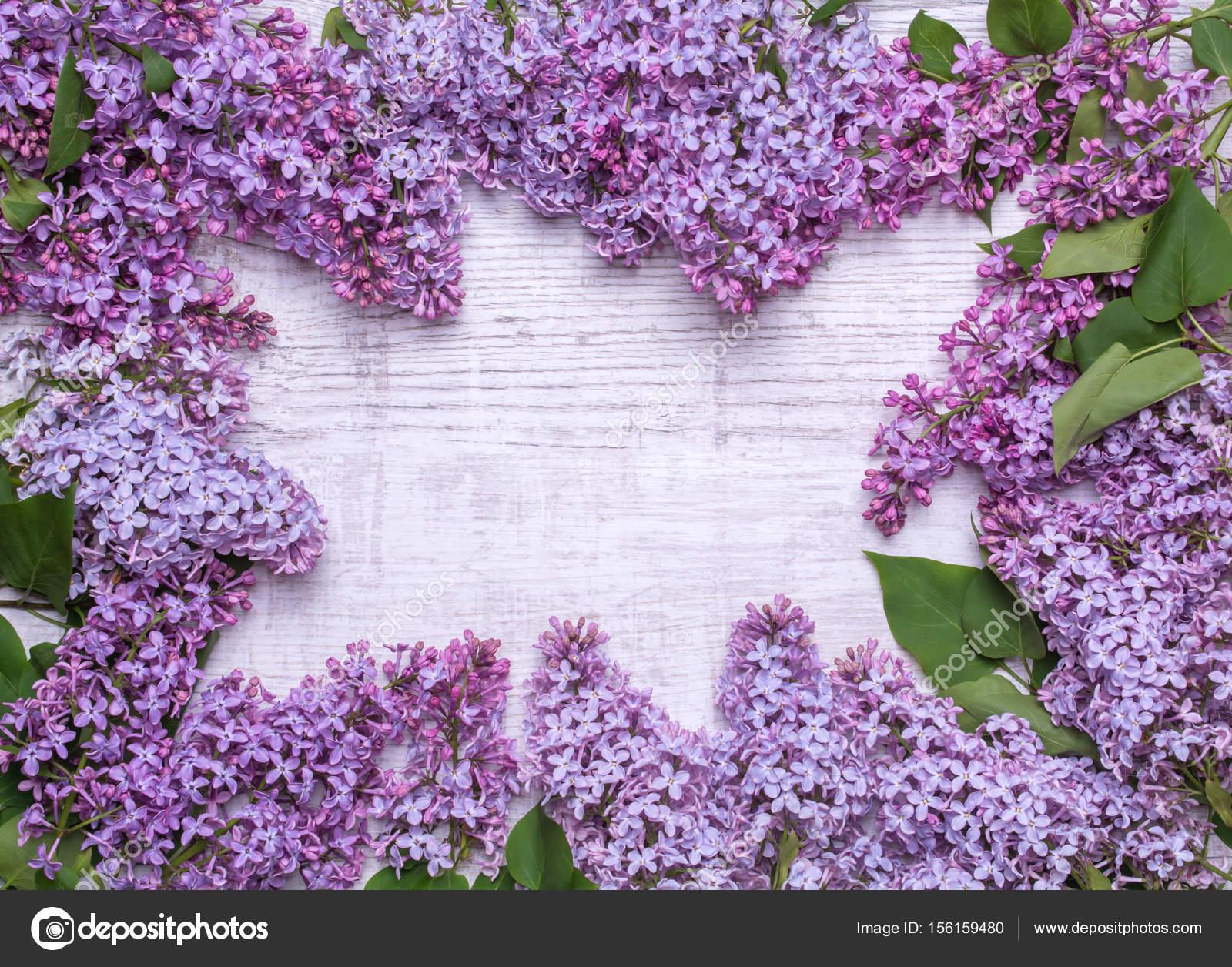 Marco de flores lilas. Un ramo de flores de color púrpura sobre un ...