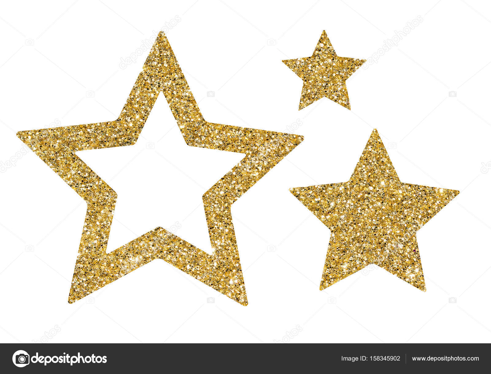 gold stars of sequin confetti isolated on white background