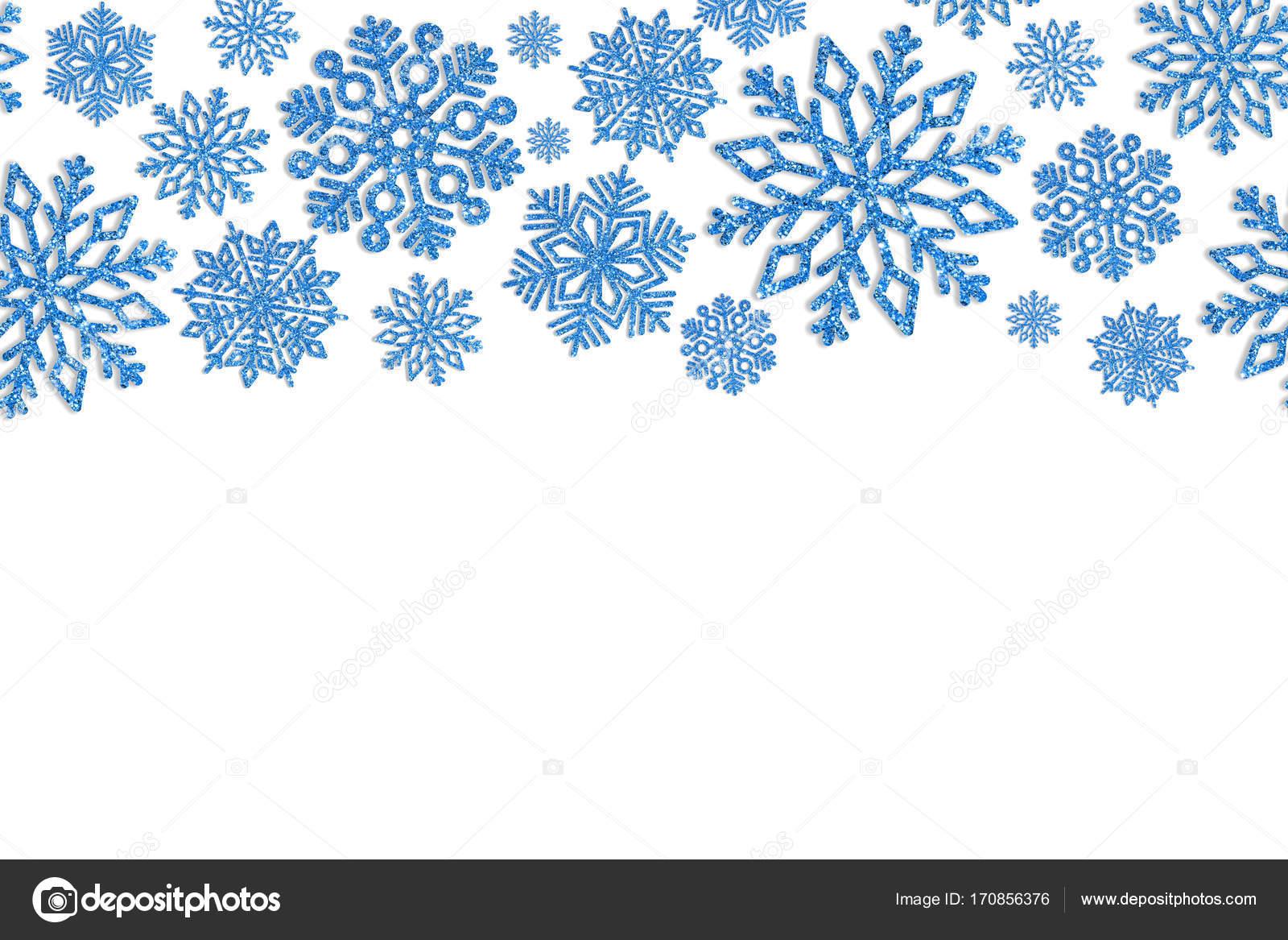 Weihnachten-Rahmen mit blauen Schneeflocken. Grenze von Pailletten ...