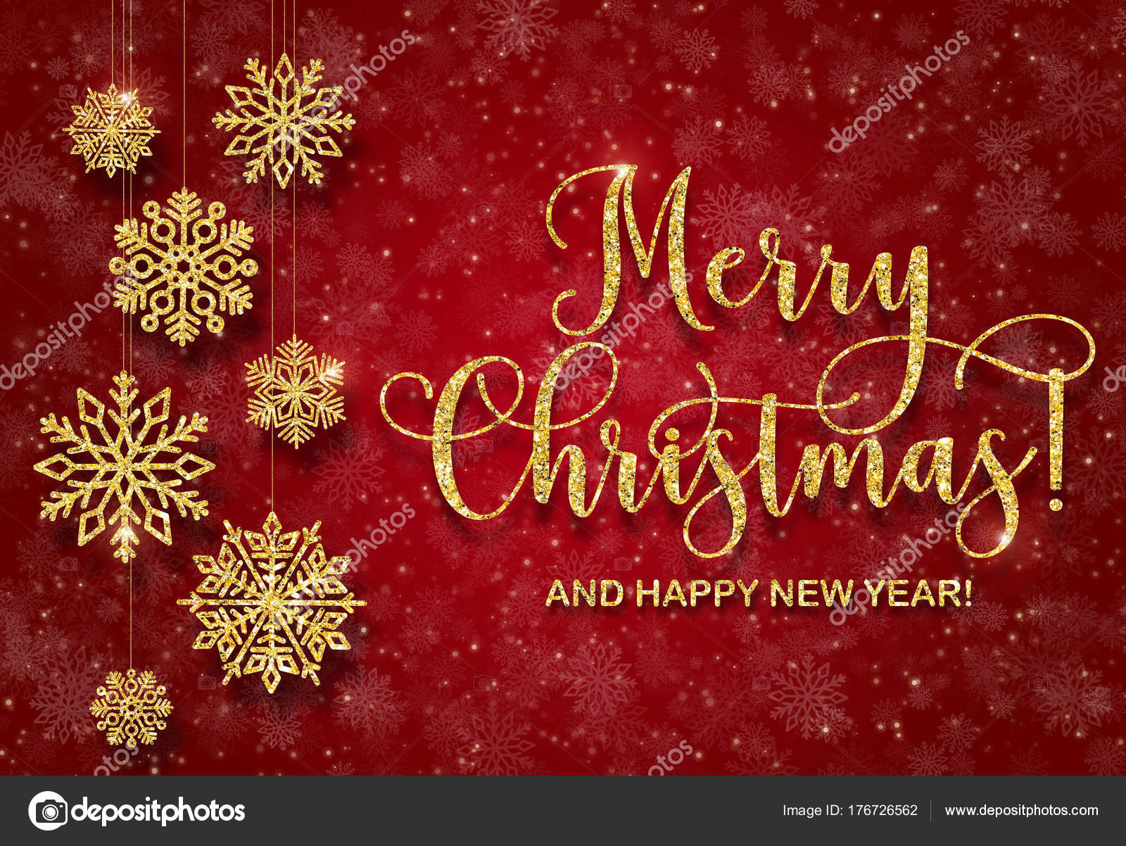 Frasi Auguri Buon Natale E Felice Anno Nuovo.Cartolina D Auguri Con Il Testo D Oro Su Sfondo Rosso