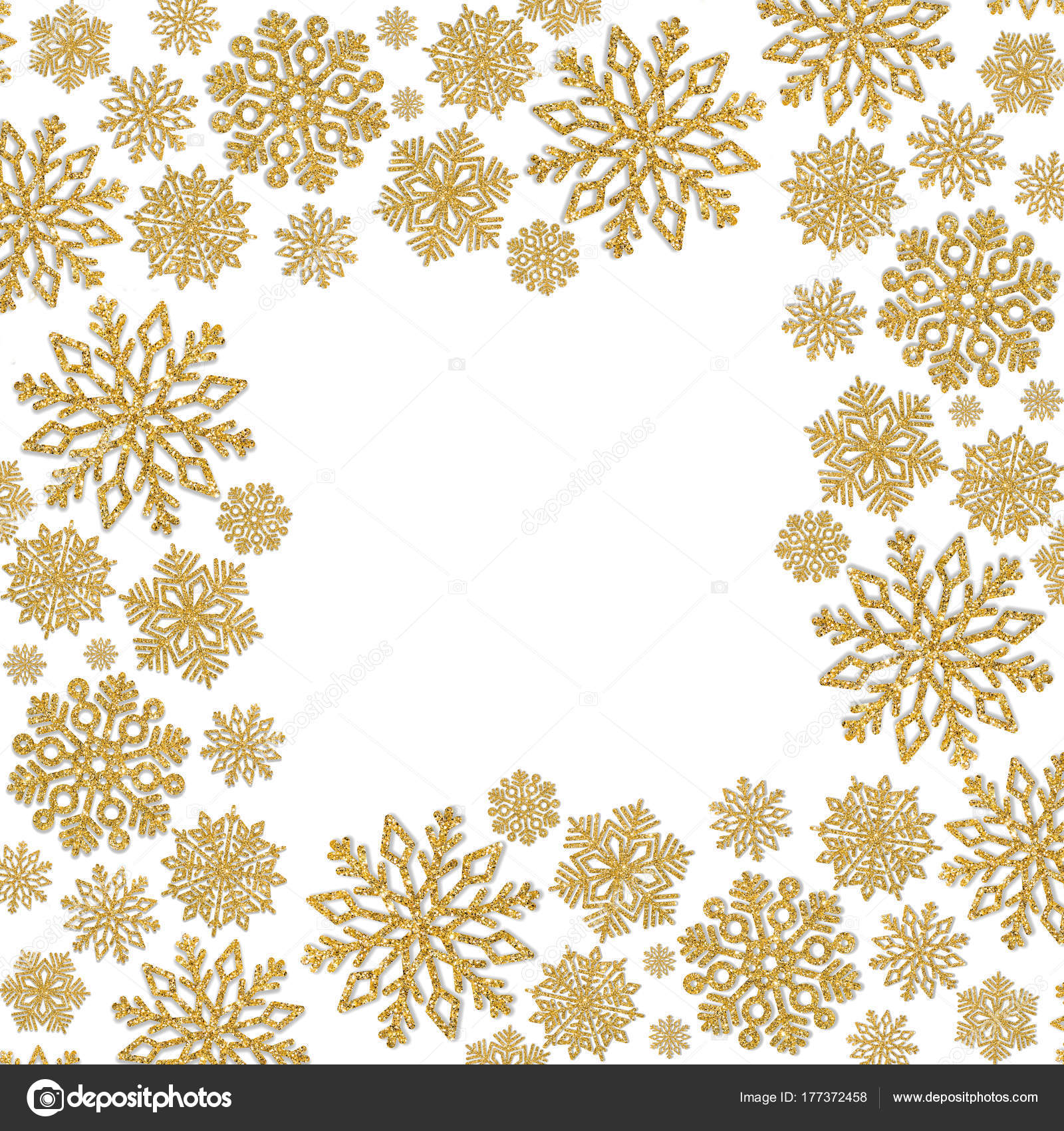 Weihnachten-Rahmen mit gold Schneeflocken. Grenze von Pailletten ...