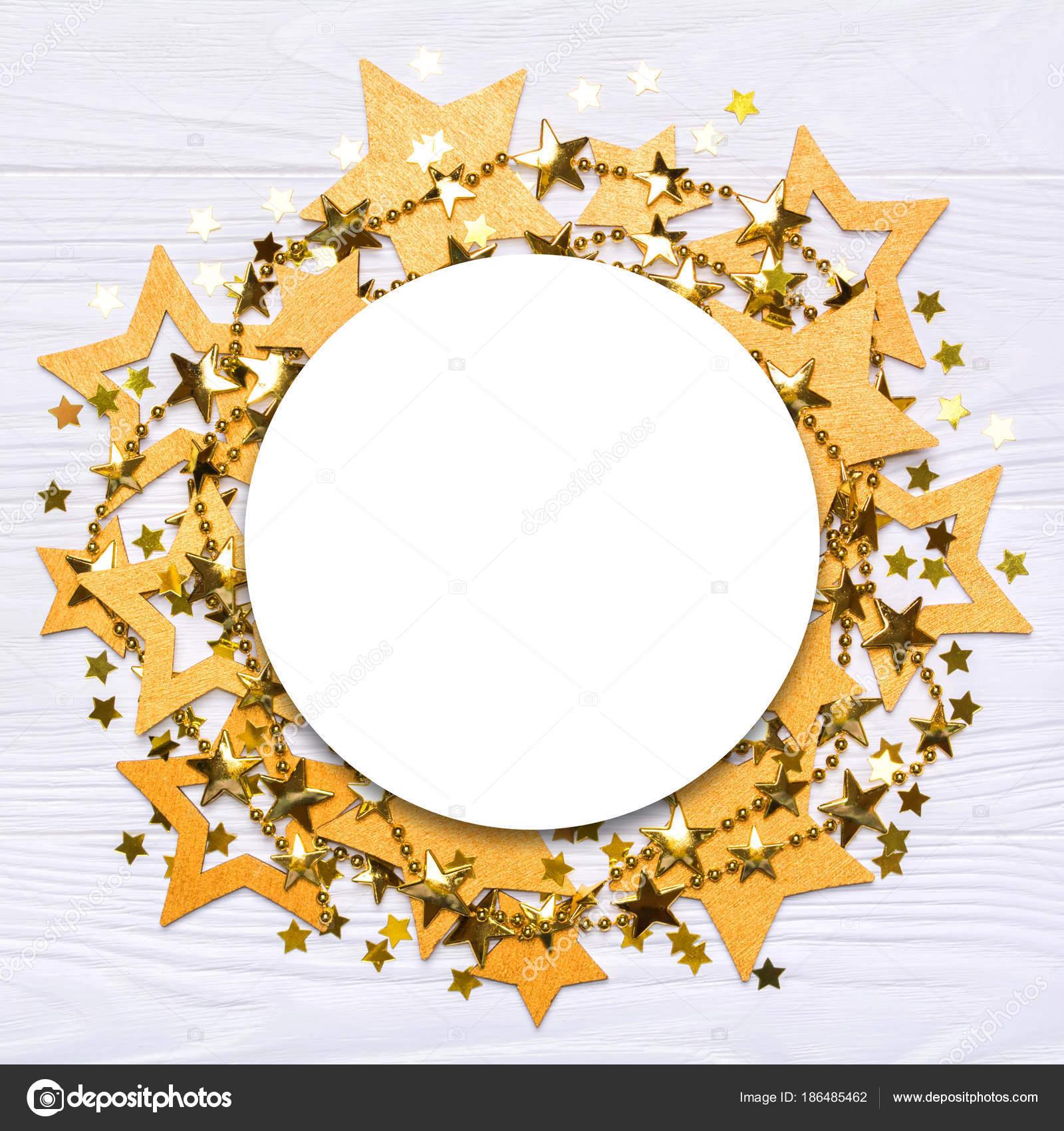 Plano pone vacío ronda marco de estrellas grandes y pequeñas de ...