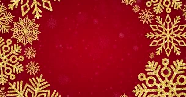 Vánoční pozadí s kulatým rámečkem se zlatými vločkami na červené