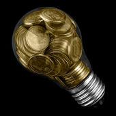 žárovka s mincí