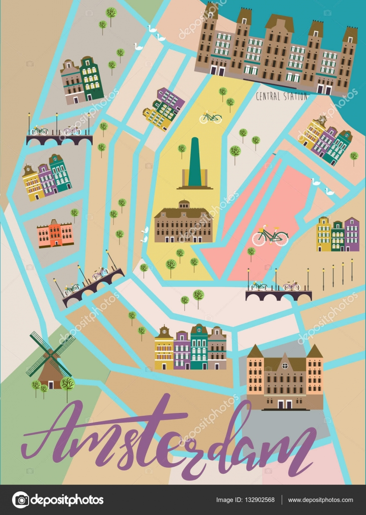 mapa ilustrado Amsterdam vectorial | Mapa ilustrado de Amsterdam — Vector de  mapa ilustrado