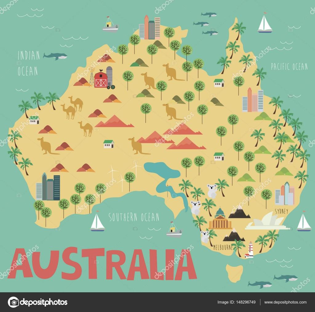 Map Of Australian Landscapes.Illustration Map Of Australia Stock Vector C Miobuono12 148296749