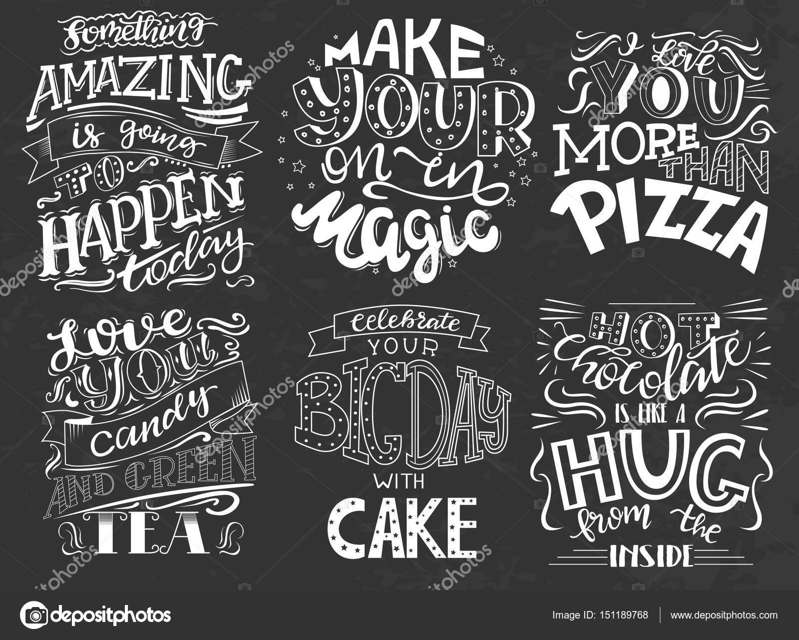 Set Of Hand Drawn Lettering Inspirational Quotes Stock Vector