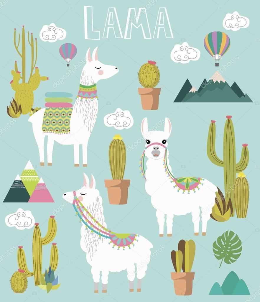 Set of Cute vector alpaca and cactus elements