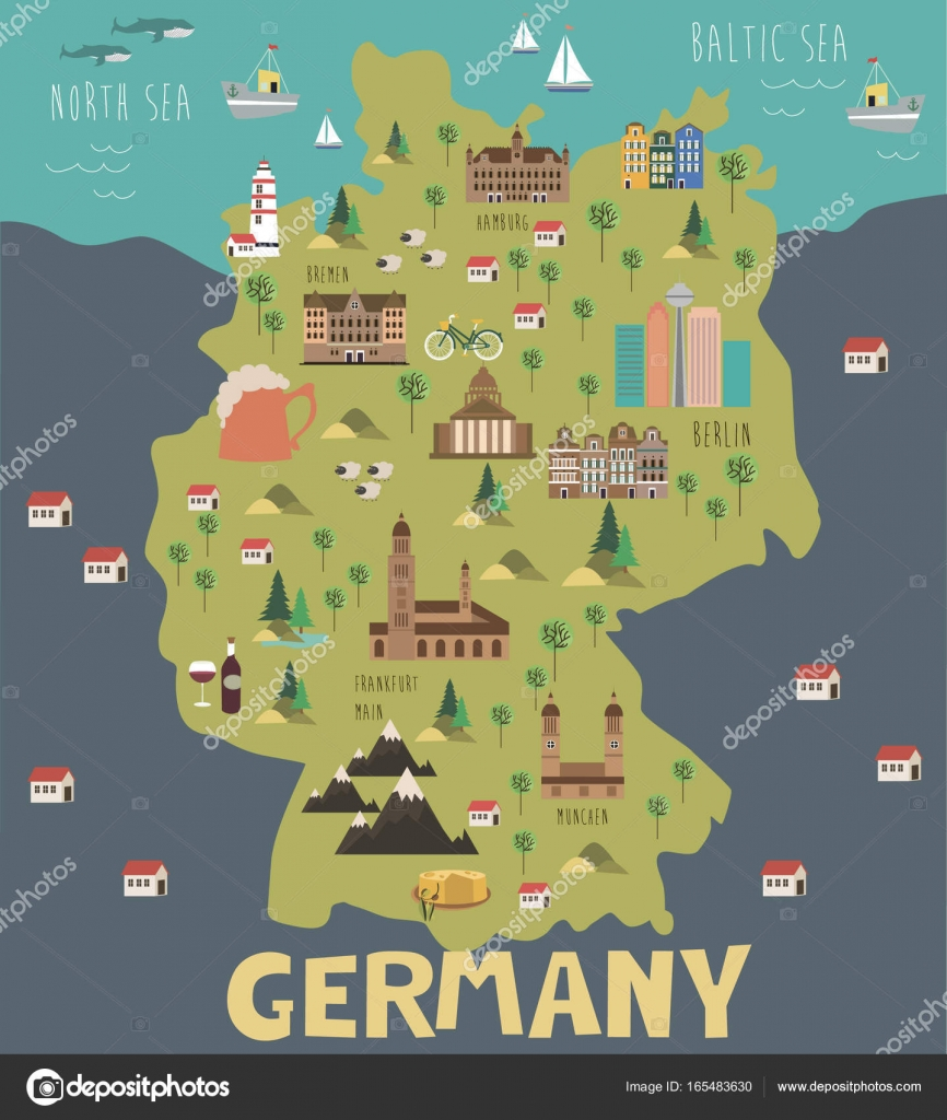 sehenswürdigkeiten deutschland karte Abbildung Karte von Deutschland — Stockvektor © MioBuono12 #165483630