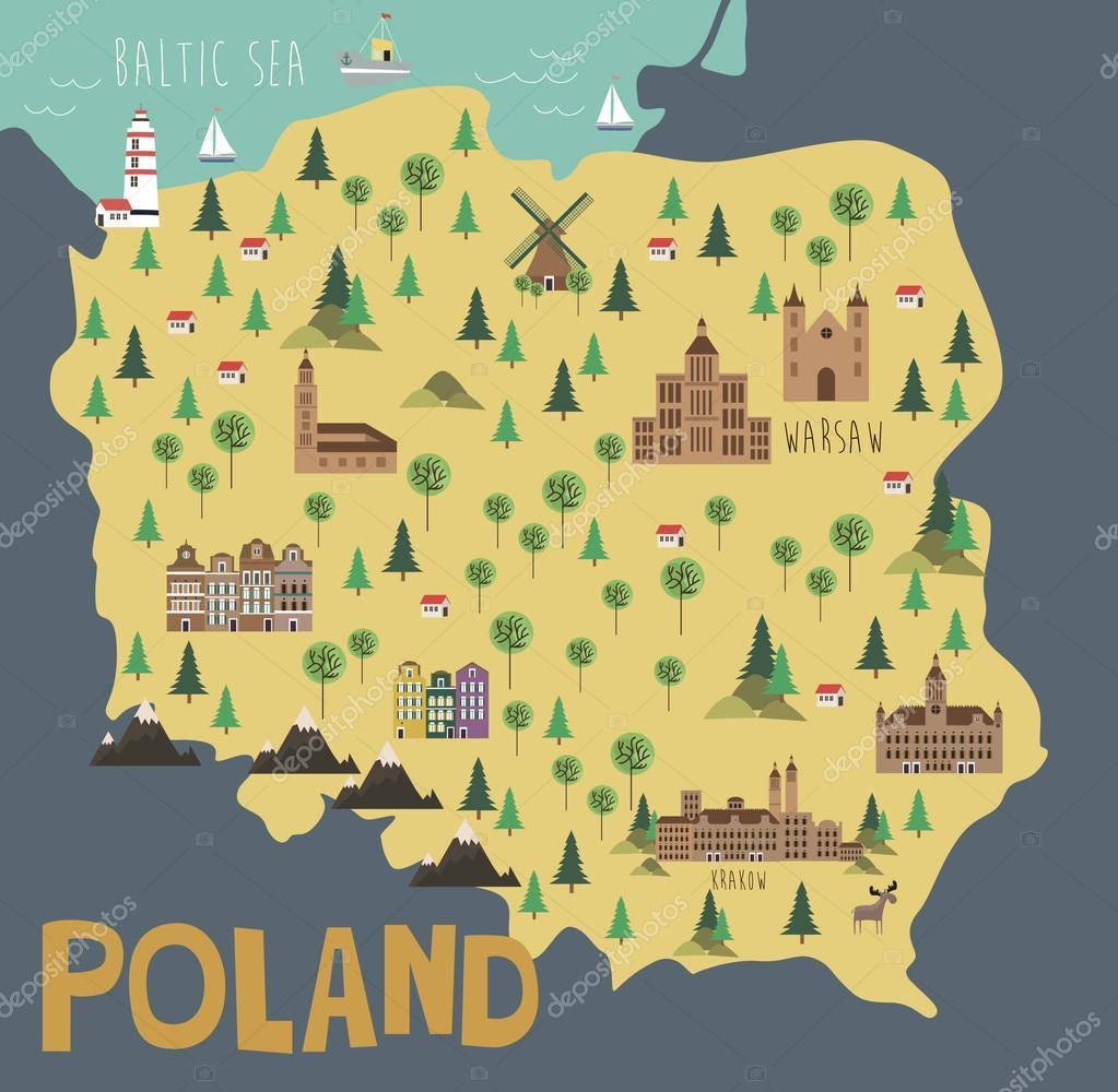 Illustration map of Poland