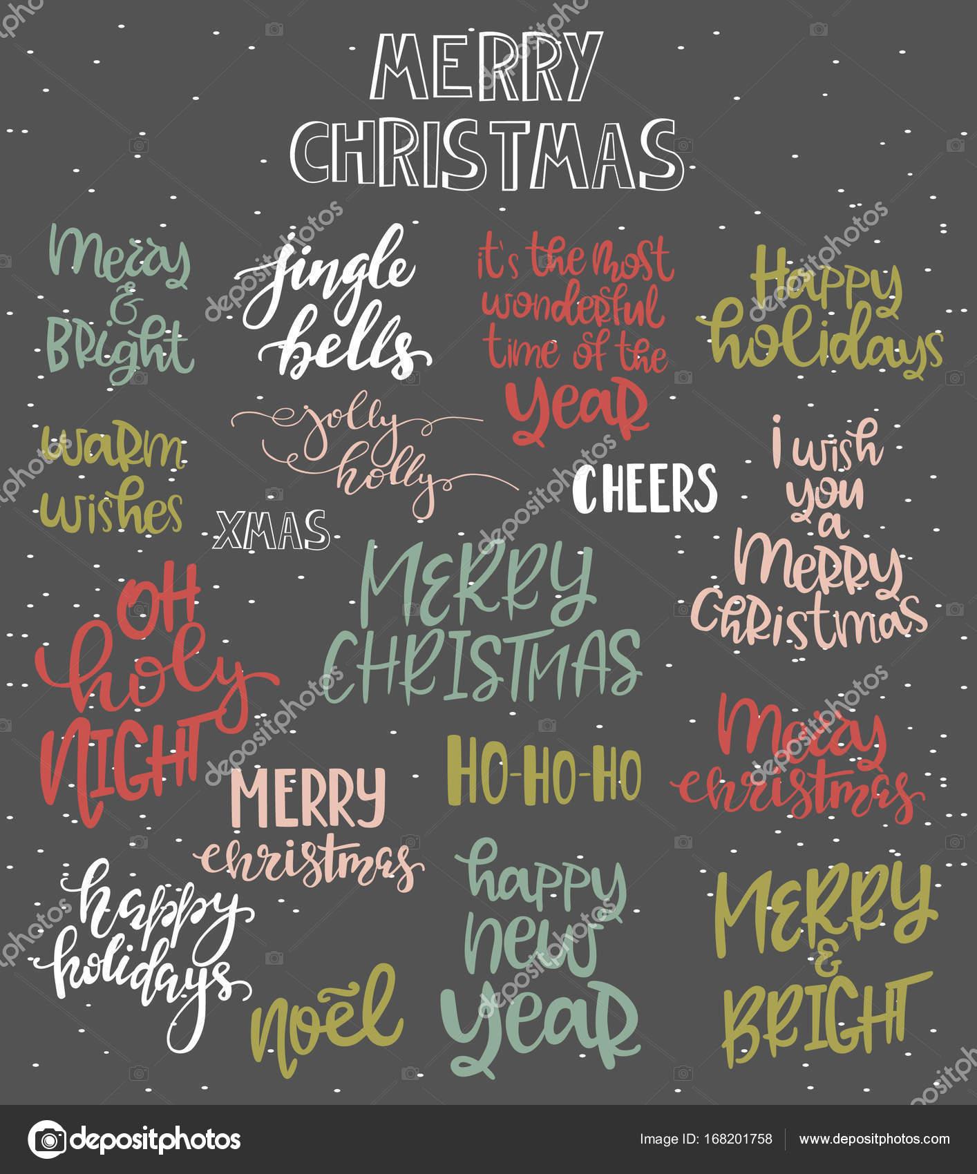 Conjunto De Frases De Navidad Para La Rotulación Vector De