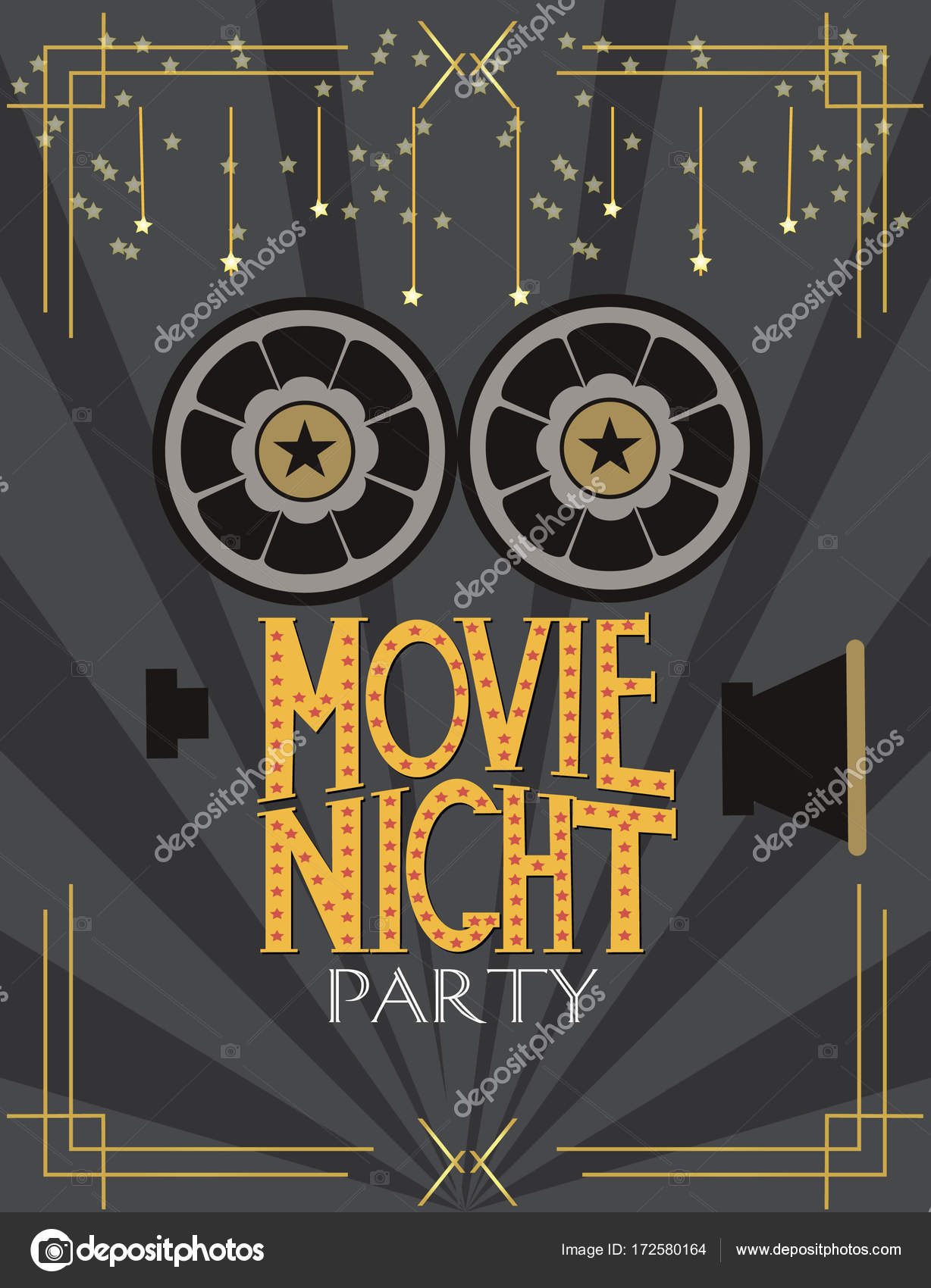 Night movie party invitation card stock vector miobuono12 172580164 night movie party invitation card stock vector stopboris Image collections
