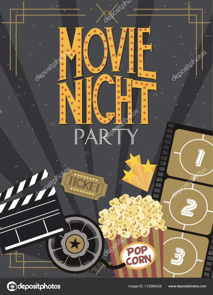 Nacht-Film-Party-Einladung-Karte — Stockvektor © MioBuono12 #172580428