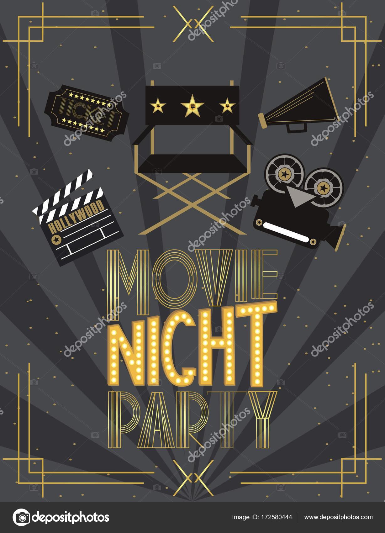Nacht-Film-Party-Einladung-Karte — Stockvektor © MioBuono12 #172580444
