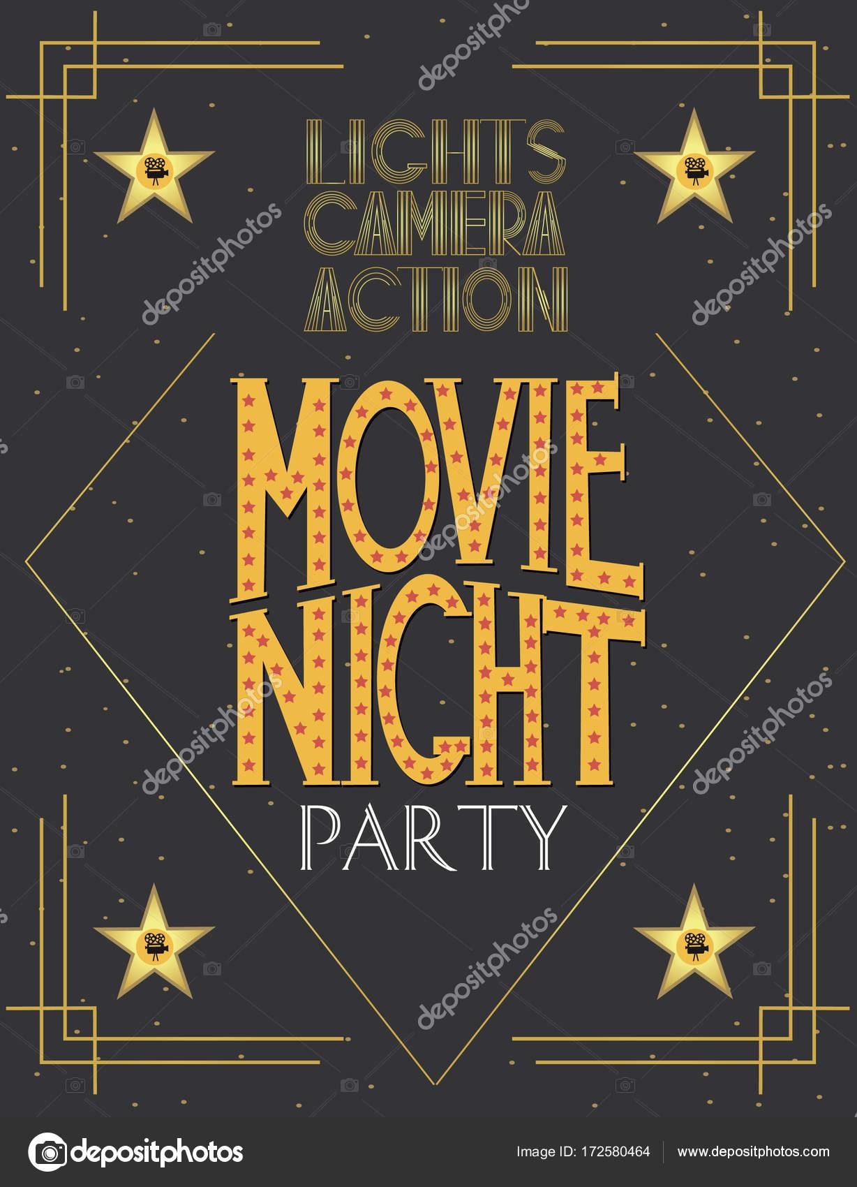 Nacht-Film-Party-Einladung-Karte — Stockvektor © MioBuono12 #172580464