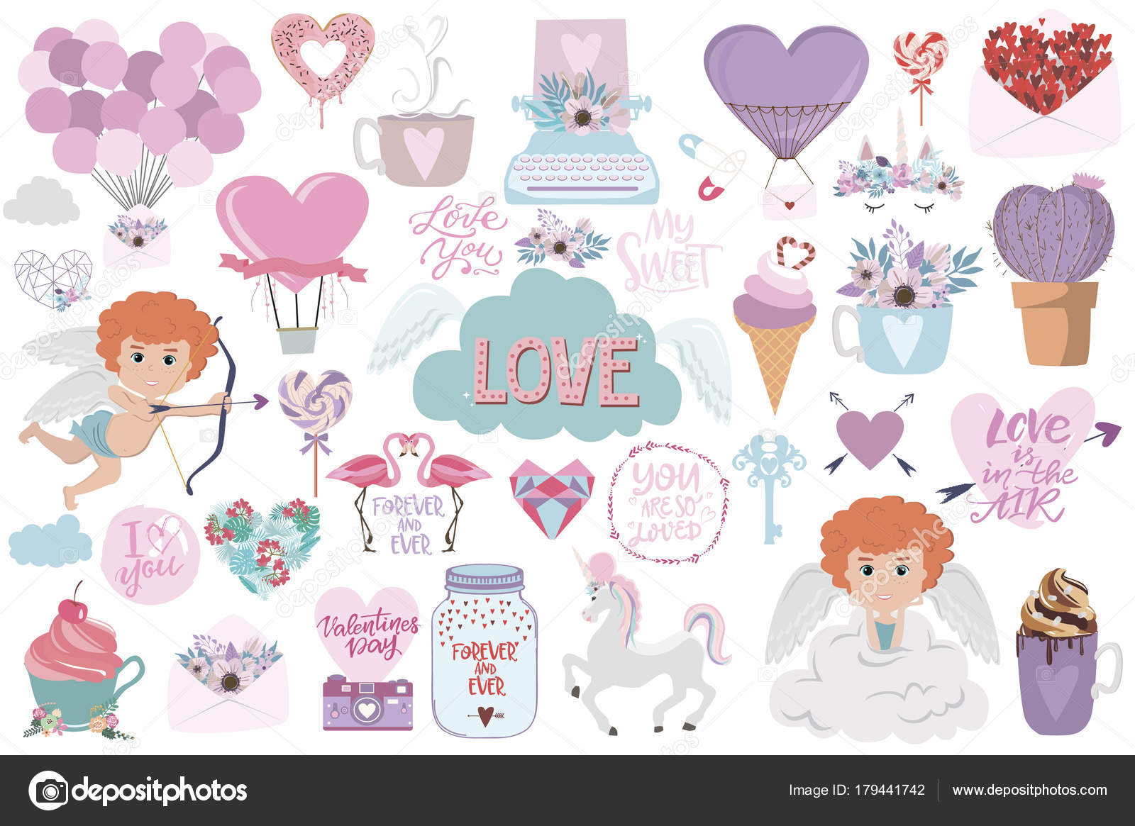 Set Of Cute Icons With Romantic Style For Valentine S Day Save The