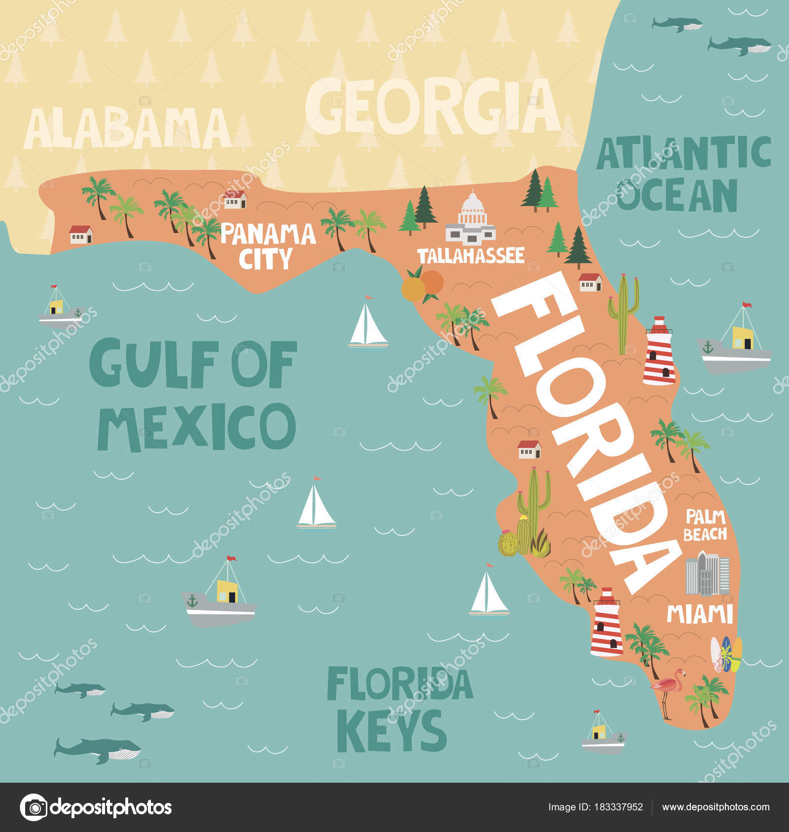 Illustrated Map Of The State Of Florida In United States Stock - Florida-in-us-map