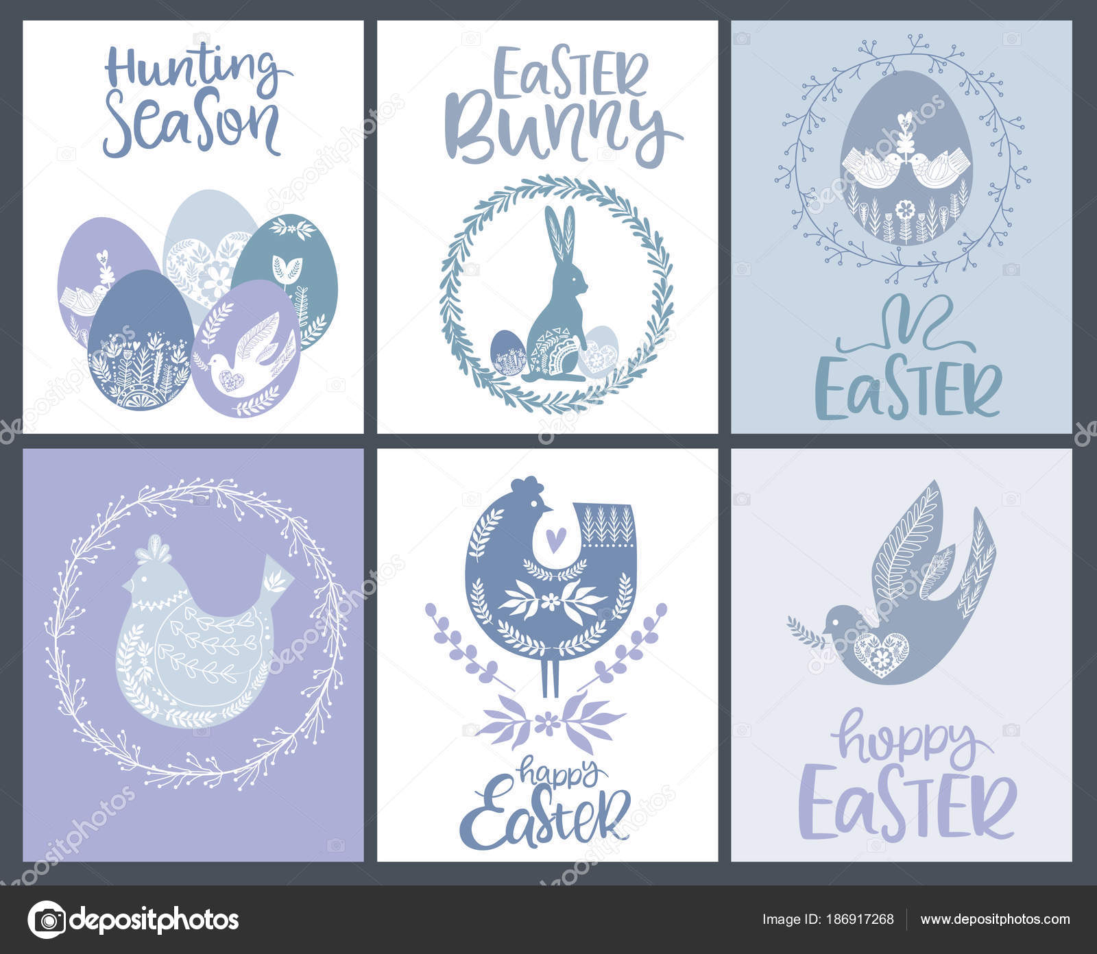 Zestaw Happy Wielkanoc Kartki życzeniami Plakaty Stylu