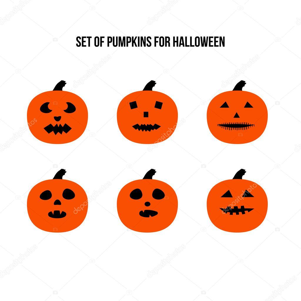 Zucca Di Halloween Paurose.Vettore Spaventose Halloween Zucche Spaventose Di Halloween