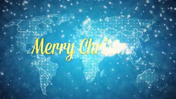 Mapa světa zasněžené modré pozadí s textem Veselé Vánoce