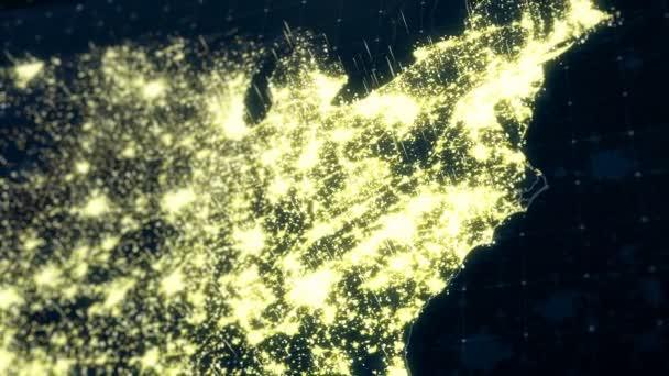 Map Of Usa At Night.Usa Map Night Lighting Stock Video C Shilovaoksana 134878270