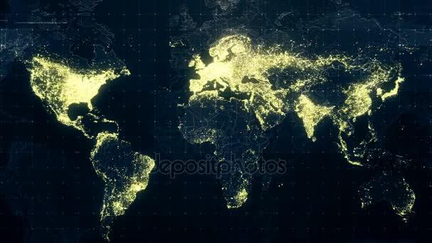 Illuminazione notturna di mondo mappa u video stock
