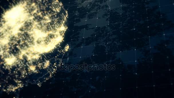 South Korea Map Night Lighting Close View