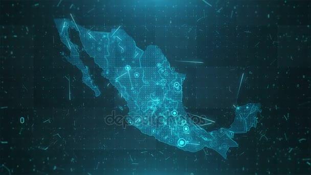 Mexiko mapa pozadí města připojení 4k