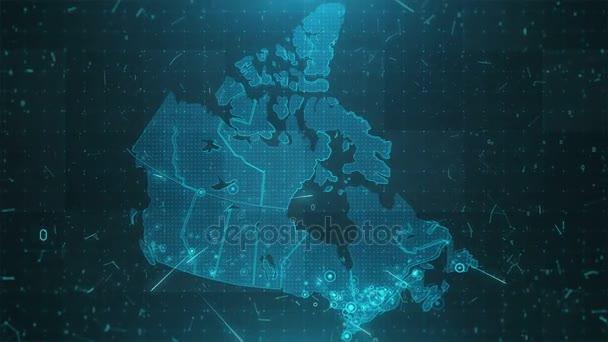 Kanada mapy pozadí města připojení 4k