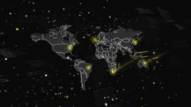 Animace mapa světa s globální spojení na různých místech země. Animace zahrnuje kamery rotace, Fantastické vizuální efekty, světelné připojení. Ideální pro prezentace, prezentace, přívěsy, sci-fi otvíráky a etc