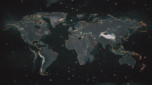 Zářící Afrika na strukturované mapě Země se zvýrazněnými obrysy a vizuálními prvky hud. Technologický futuristický pohled na mapu světa.