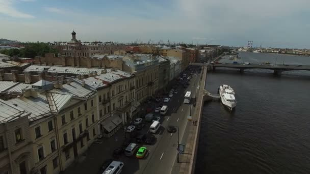 4k Aerial Shot Of Saint Petersburg Wedding Palace On English Embankment Stock Video
