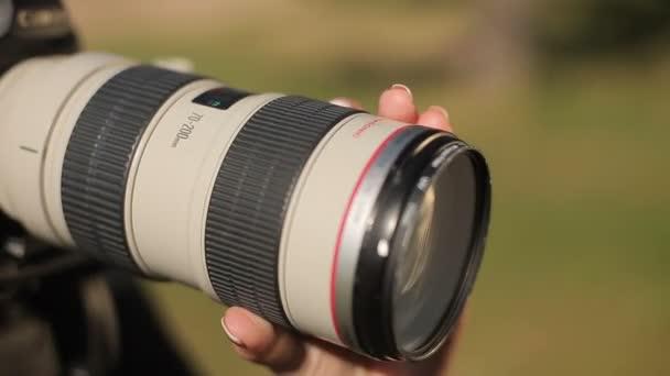 Fotograf, Einstellung Fokus auf Kameraobjektiv