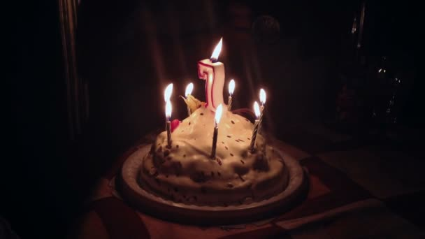 Birthday Cake 7 Years Old Stock Footage