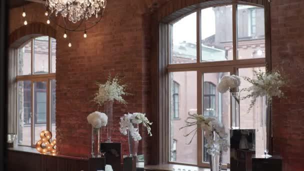 Wedding ceremony decoration indoors — Stock Video © lponline #144548609