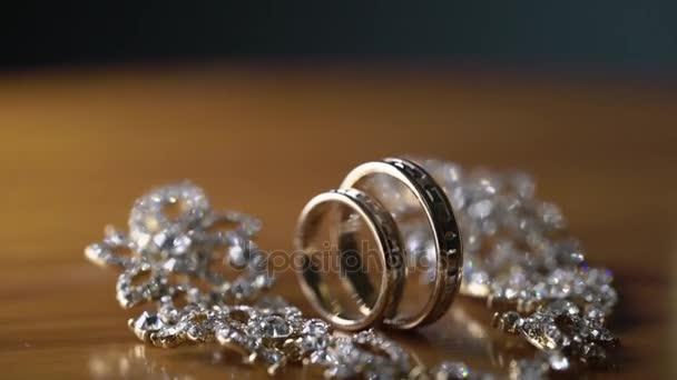 Wedding rings and earrings