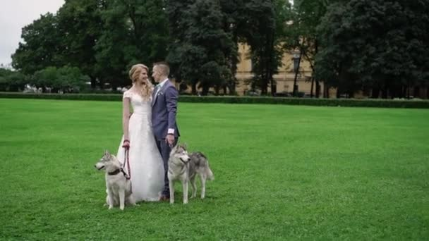 Bride and groom with husky dogs