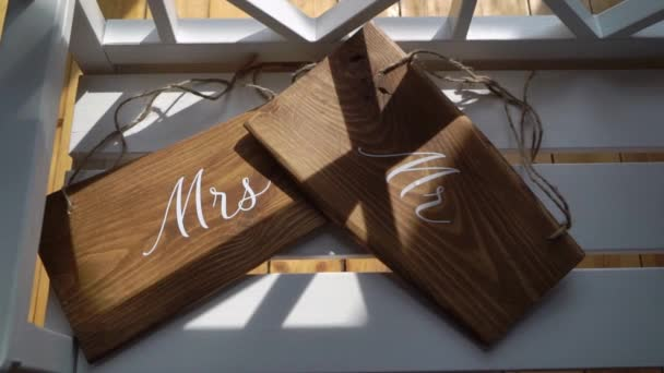 Mr and Mrs sign. Wooden plates decorated for wedding marriage.