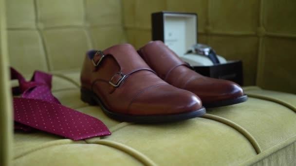 Mans accessories fashion. Tie, wrist watch, leather shoes